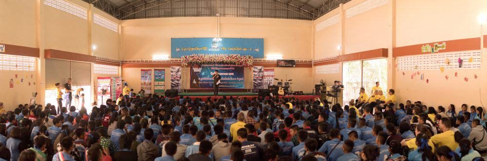 Thai students during an assembly learning about prevention