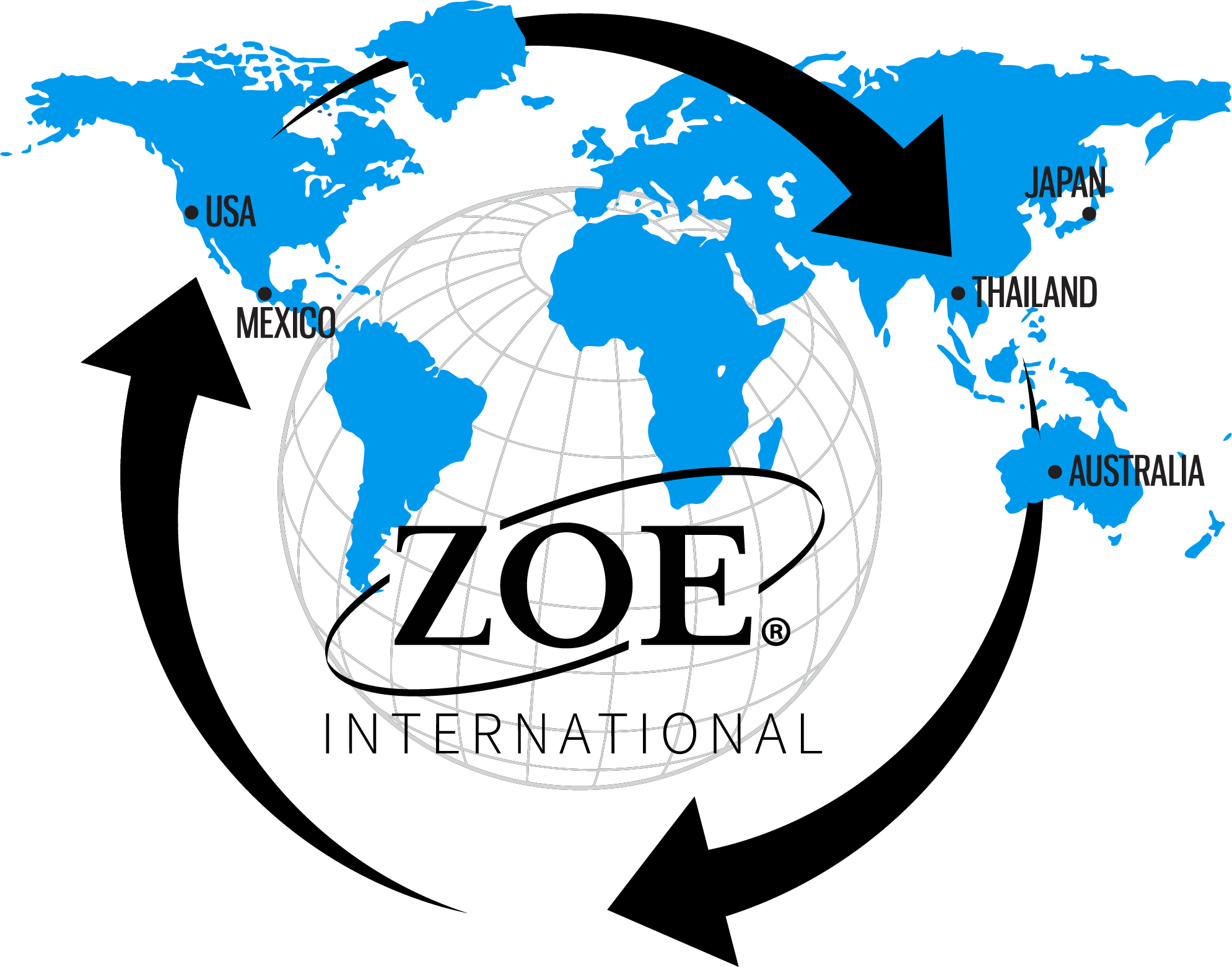 Zoe International blue world map