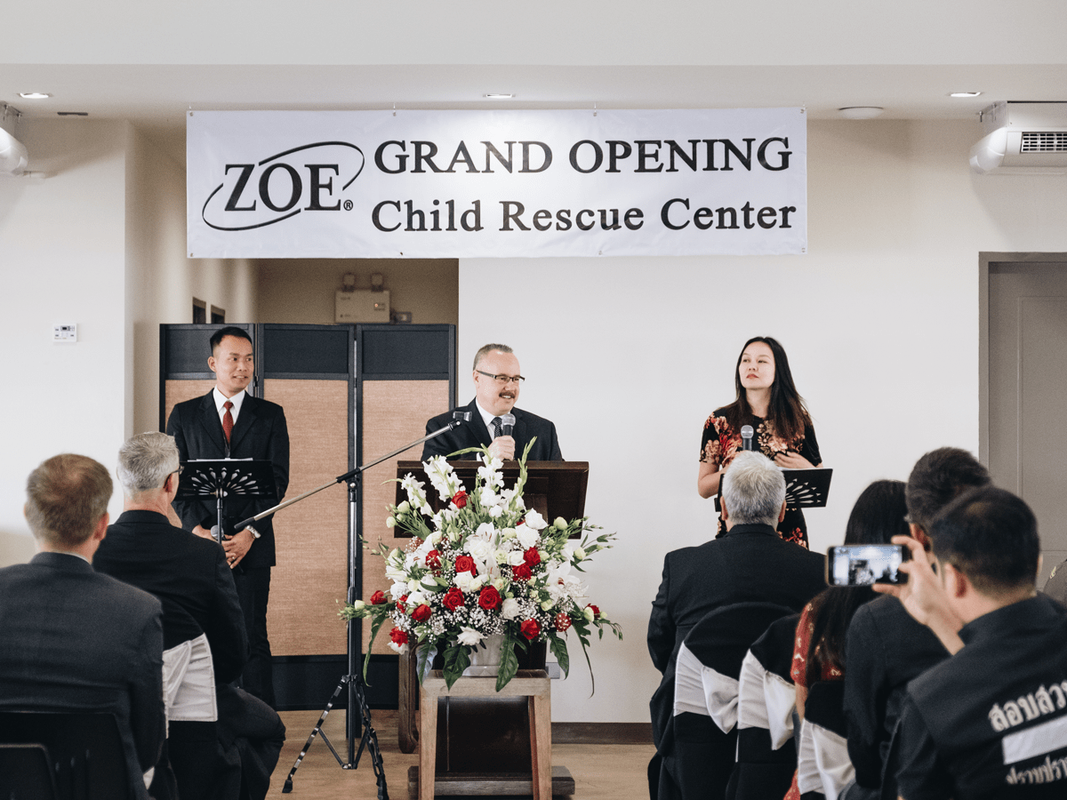 Michael Hart at the grand opening of the ZOE Child Rescue Center in Thailand