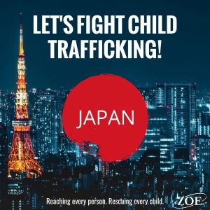 Skyline of Japan with Lets fight human trafficking in the sky