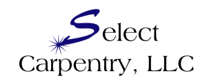 select carpentry logo with blue s and spark at the end