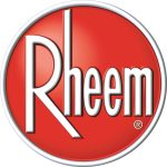 """Red logo with white letters that says """"Rheem"""""""